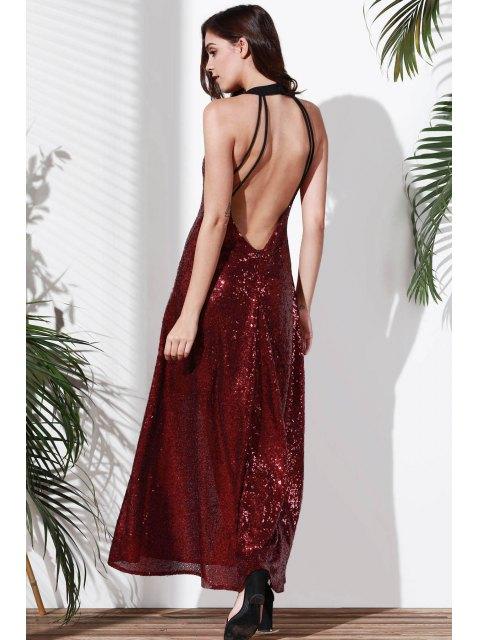 women's Sequins Sleeveless Backless Maxi Dress - DARK RED S Mobile
