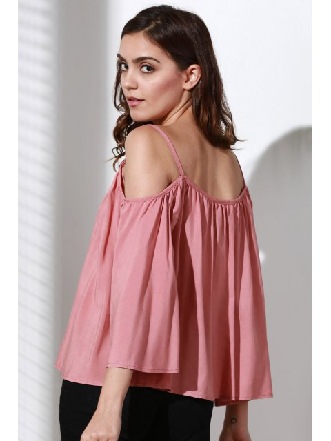 women's Flare Sleeve Loose Trapeze Top - PINK L Mobile