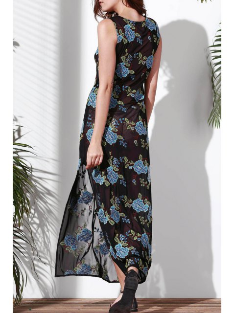 best Floral Embroidered Round Neck Sleeveless Dress - BLUE S Mobile