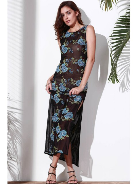 hot Floral Embroidered Round Neck Sleeveless Dress - BLUE XL Mobile
