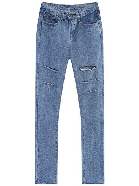 sale Broken Hole All-Match Jeans - LIGHT BLUE S Mobile