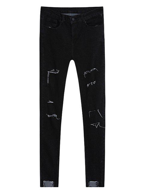 outfit Broken Hole Pencil Jeans - BLACK L Mobile