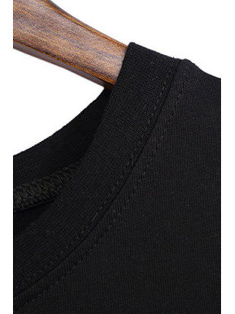 Motif longue lettre T-shirt - Noir Taille Unique(S'adap Mobile