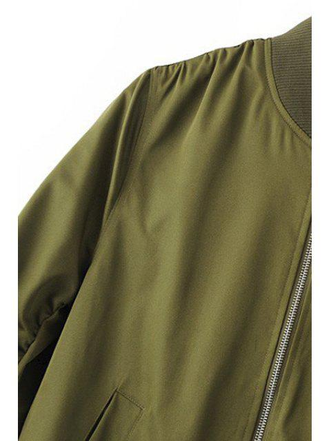 chic Zippered Sleeve Bomber Jacket - BLACK M Mobile