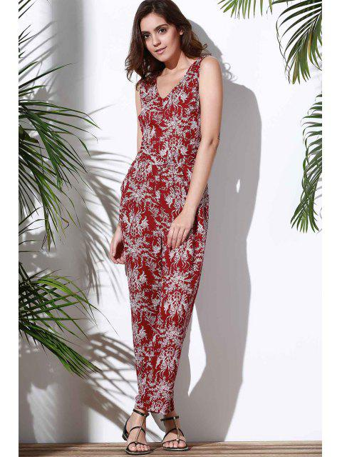 women's Floral V Neck Sleeveless Hollow Jumpsuit - RED S Mobile