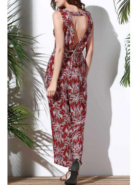 lady Floral V Neck Sleeveless Hollow Jumpsuit - RED L Mobile