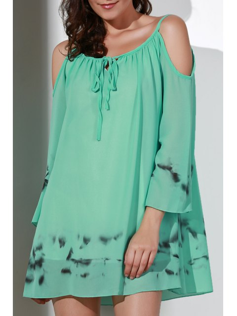 best Printed V-Neck Cut Out Chiffon Dress - LIGHT GREEN S Mobile