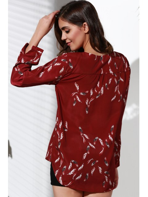 outfits Feather Print High Low Hem V-Neck Blouse - WINE RED M Mobile