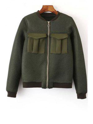 Big Pocket Mesh Design Pilot Jacket - Green S
