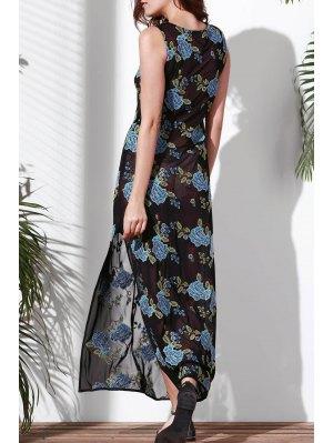Floral Bordado Cuello Redondo Vestido Sin Mangas - Azul S