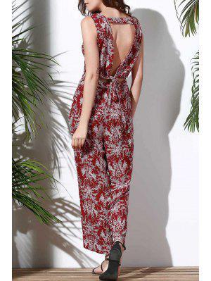 Floral V Neck Manches Creux Jumpsuit - Rouge L