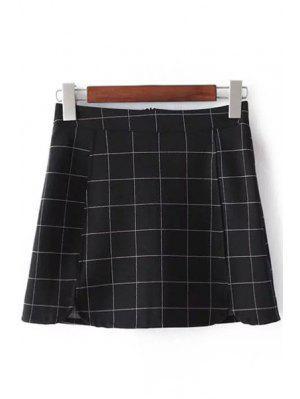 Plaid Print High Waist Mini Skirt - Checked L