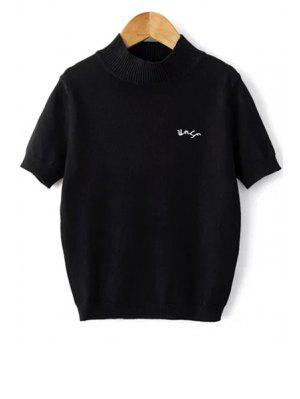 Solid Color Stand Neck Short Sleeve Knitwear - Black S