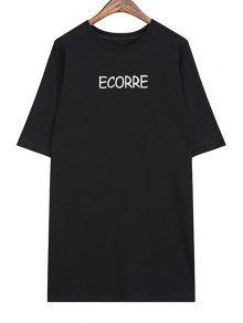 Letter Pattern Long T-Shirt - Black