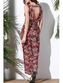 Floral V Neck Sleeveless Hollow Jumpsuit - Red L