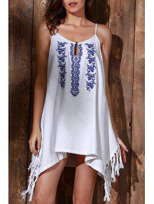 Floral Bordado Vestido De Las Borlas Del Cami - Blanco S