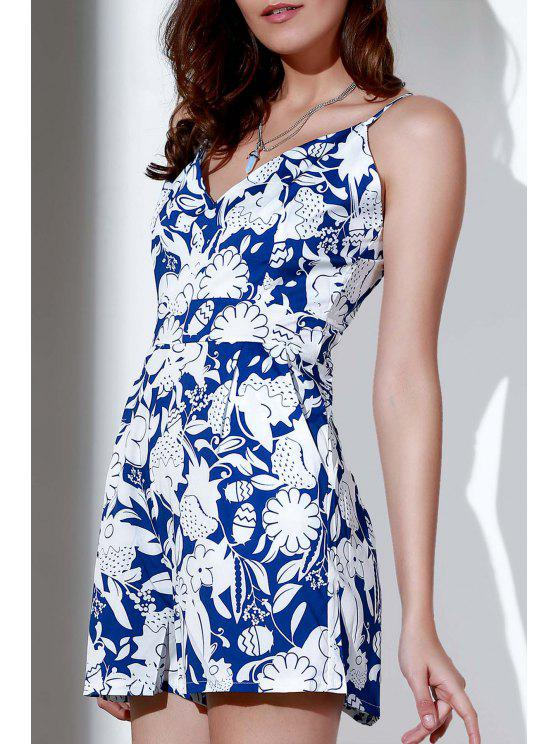 hot Printed Spaghetti Strap Backless Romper - WHITE L