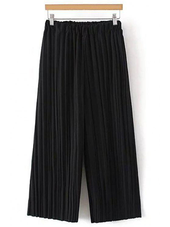 trendy Pure Color Pleated Cropped Pants - BLACK ONE SIZE(FIT SIZE XS TO M)