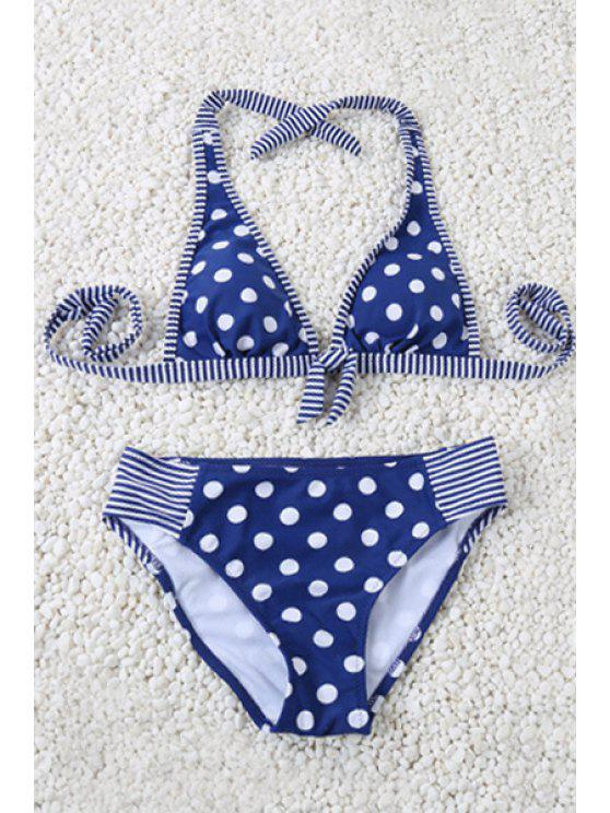 Polka Dot Halter Striped Triangle Bikini Set - Bleu M