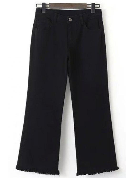 shop Frayed Cropped Black Jeans - BLACK M