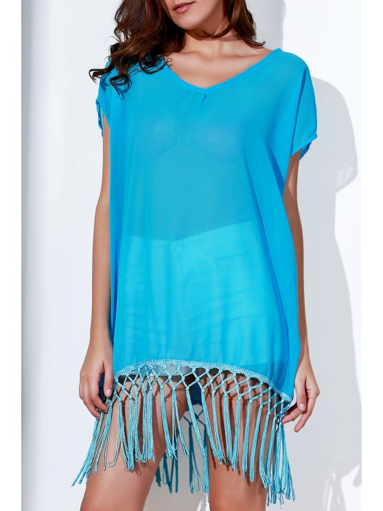 womens Tassels Spliced Round Collar Short Sleeve Cover Up - AZURE ONE SIZE(FIT SIZE XS TO M)