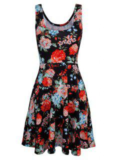 Sleeveless Chiffon Flroal Flowing Dress - Black Xl