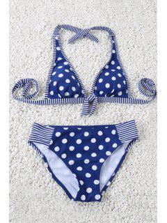 Polka Dot Halter Striped Bikini Set - Blue M