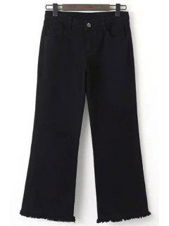 Frayed Cropped Black Jeans - Black M