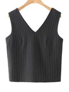 Striped V Neck Sleeveless Tank Top - Black L