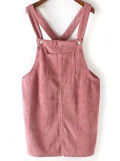Corduroy Square Neck Sleeveless Dress - Pink L
