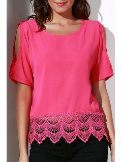Cold Shoulder Round Collar Chiffon Blouse - Watermelon Red Xl