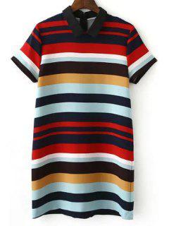 Stripe Turn Down Collar Short Sleeve Dress - Stripe L