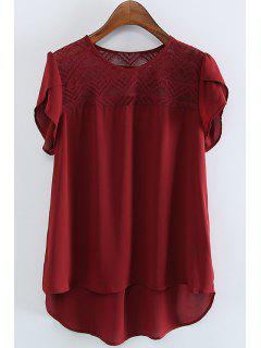 Lace Spliced Round Collar Short Sleeve Blouse - Wine Red L