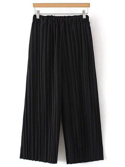 trendy Pure Color Pleated Cropped Pants - BLACK ONE SIZE(FIT SIZE XS TO M) Mobile