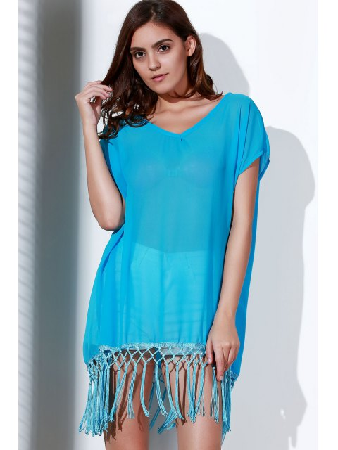 womens Tassels Spliced Round Collar Short Sleeve Cover Up - AZURE ONE SIZE(FIT SIZE XS TO M) Mobile