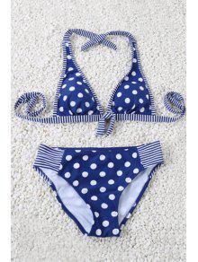 Polka Dot Halter Striped Bikini Set - Blue M