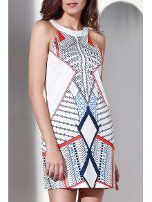 Geometric Pattern Round Collar Dress - White L
