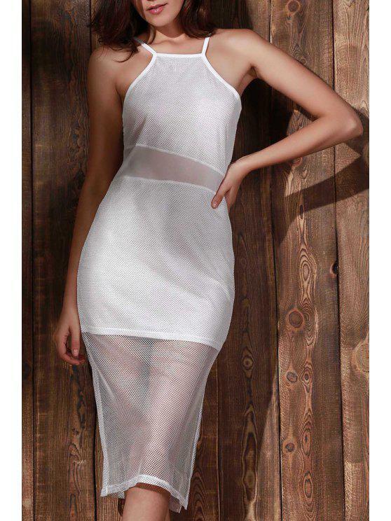 online Double-Layered Spaghetti Straps Beach Dress - WHITE M