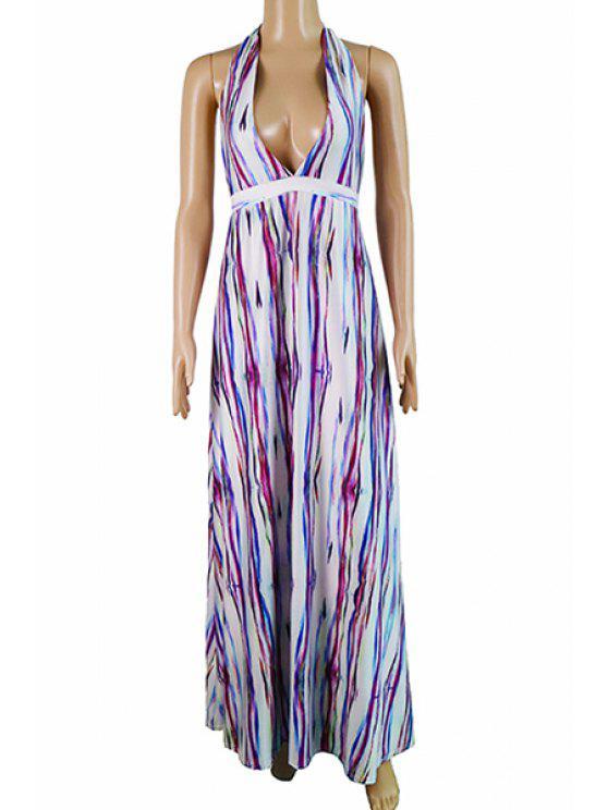 فستان ماكسي غارق الرقبة - شريط L