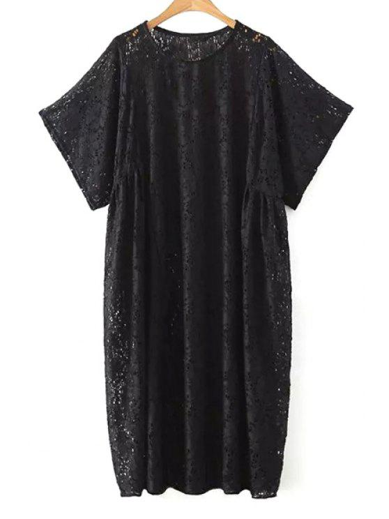 Loose Fit Lace Dress Black White