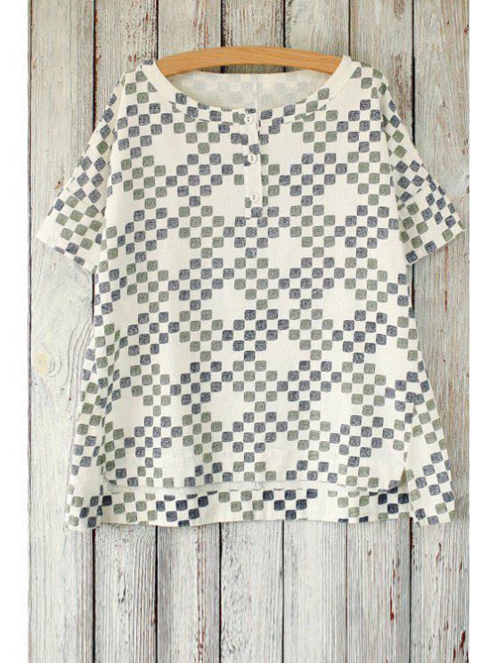 Bloque de impresión suelta cuello redondo manga corta de la camiseta - Azul Gris Un tamaño(Montar tam