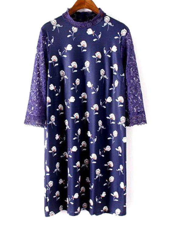 Lace Sleeve Printed Robe droite - Bleu S