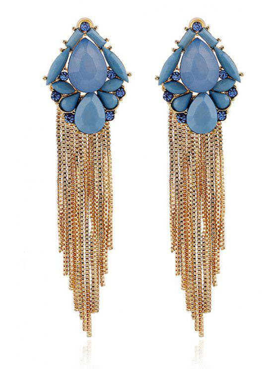 Pair Of Stylish Resin Water Drop Tel Earrings Blue