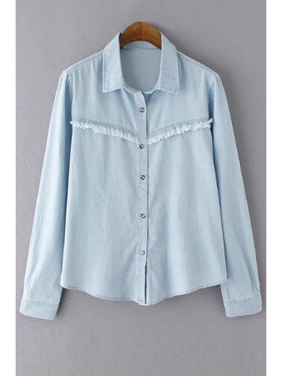 Desgastado Bleach Wash Denim Shirt - Azul Claro L