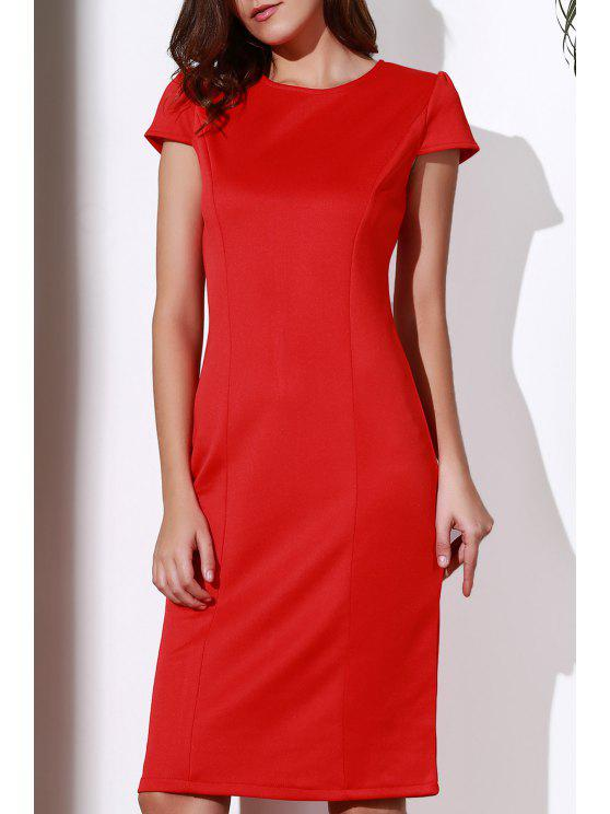 Rouge col rond manches Robe crayon - Rouge M
