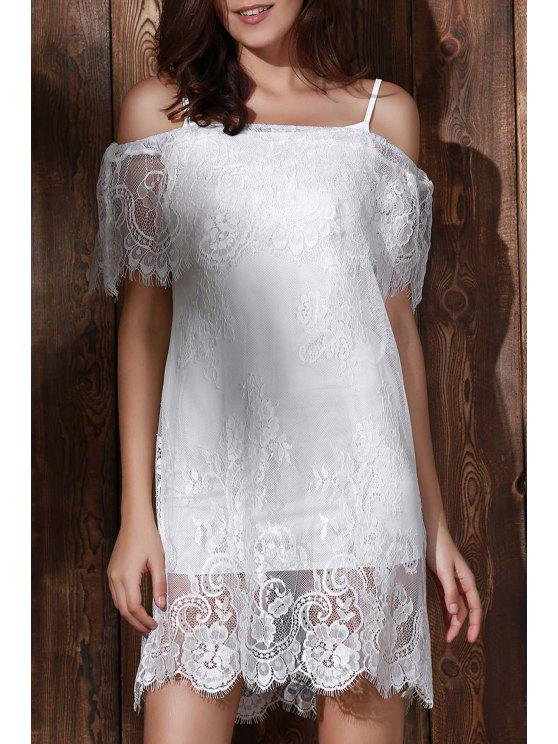 women's See-Through Off The Shoulder Lace Dress - WHITE S