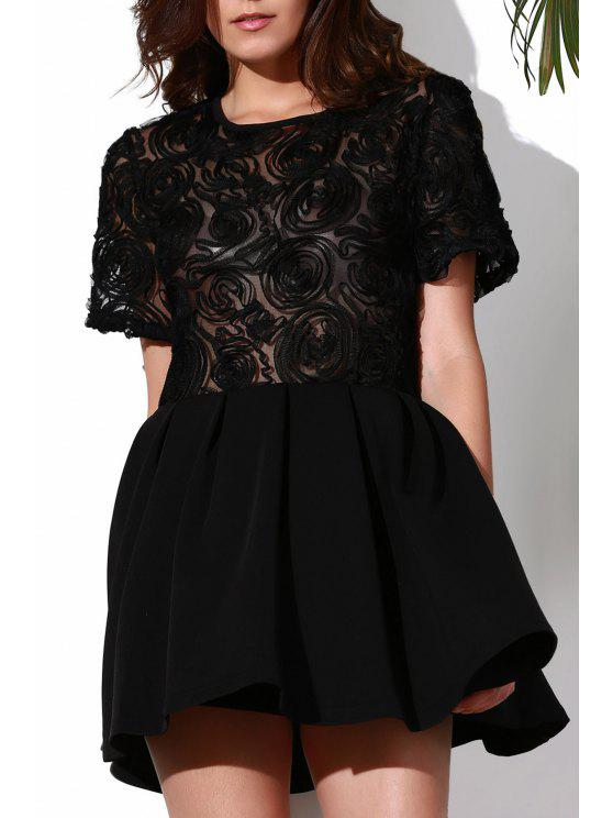 womens Flower Pattern See-Through Skate Dress - BLACK XL