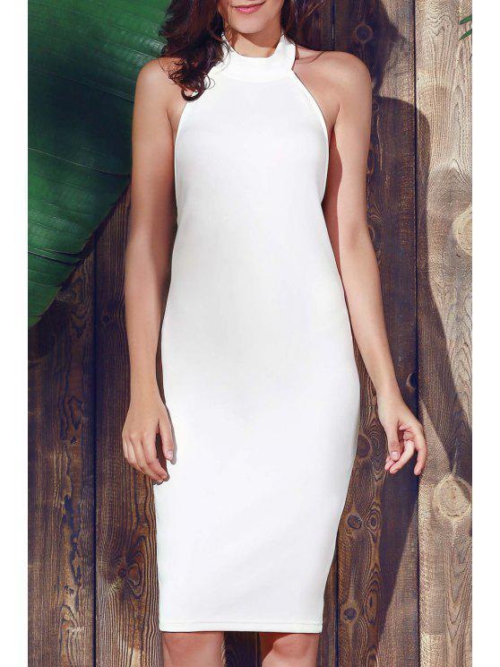 Halter manches gaine Midi Dress - Blanc L