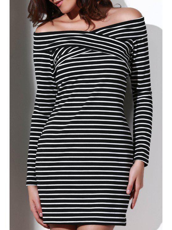women's Striped Off The Shoulder Long Sleeve Dress - WHITE AND BLACK S