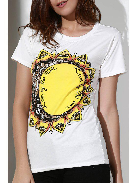 womens Sunflowers Print Round Neck Short Sleeve T-Shirt - WHITE M